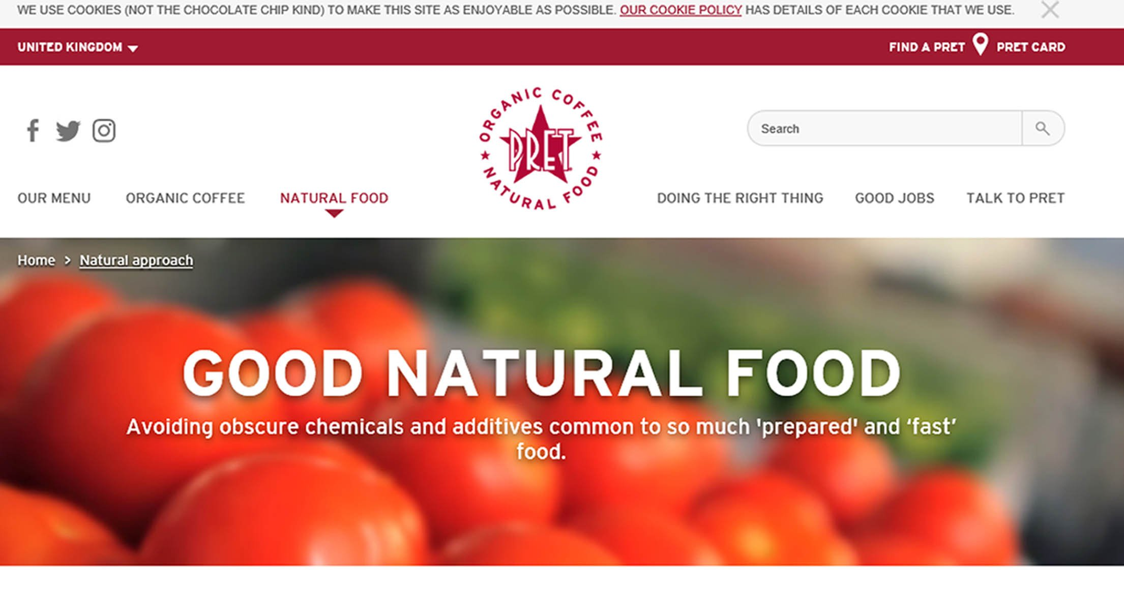 Undated handout screengrab issued by the Advertising Standards Authority (ASA) from the Pret A Manger website. Two ads for the sandwich chain have been banned for implying that its products are natural despite some containing artificial additives. PRESS ASSOCIATION Photo. Issue date: Wednesday April 18, 2018. See PA story CONSUMER Pret. Photo credit should read: ASA/PA Wire NOTE TO EDITORS: This handout photo may only be used in for editorial reporting purposes for the contemporaneous illustration of events, things or the people in the image or facts mentioned in the caption. Reuse of the picture may require further permission from the copyright holder.