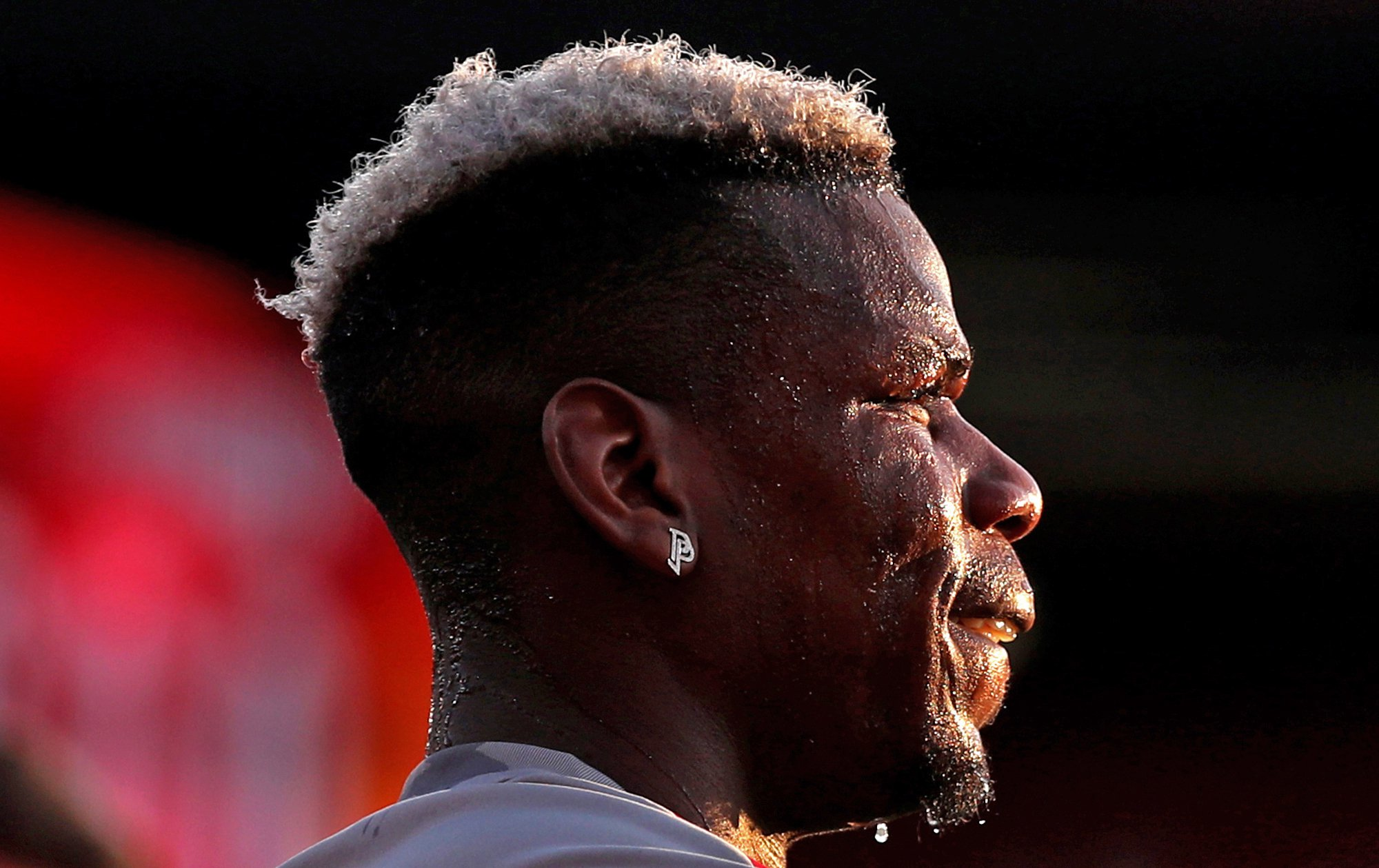 """Manchester United's Paul Pogba warms up before the Premier League match at the Vitality Stadium, Bournemouth. PRESS ASSOCIATION Photo. Picture date: Wednesday April 18, 2018. See PA story SOCCER Bournemouth. Photo credit should read: Adam Davy/PA Wire. RESTRICTIONS: EDITORIAL USE ONLY No use with unauthorised audio, video, data, fixture lists, club/league logos or """"live"""" services. Online in-match use limited to 75 images, no video emulation. No use in betting, games or single club/league/player publications."""