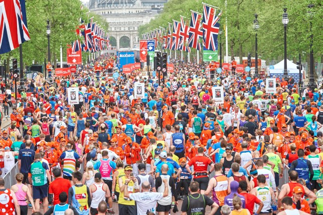 Over 40,000 people ranging from Athletes to non athletes to celebrities took part in the London Marathon which started at Blackheath and finished at St James's park Malborough road, April 23rd 2017. (Photo by Karyn Louise/NurPhoto) *** Please Use Credit from Credit Field ***