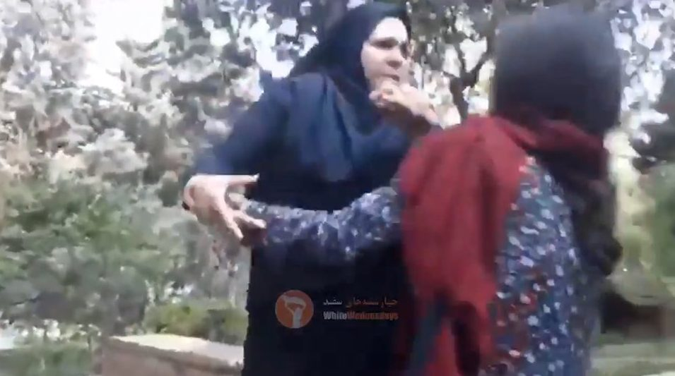 Woman beaten because her hijab is 'insufficient' (grabs)