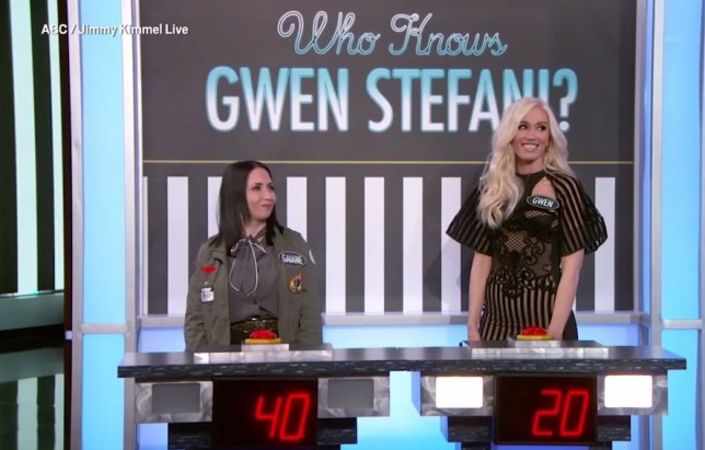 Gwen Stefani beaten by a fan on quiz about her own life METRO GRAB taken from: http://video.metro.co.uk/video/met/2018/04/20/4641652900384754491/1024x576_MP4_4641652900384754491.mp4 Credit: Jimmy Kimmel Live/ABC