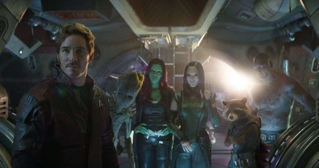 Marvel Studios' AVENGERS: INFINITY WAR..L to R: Star-Lord/Peter Quill (Chris Pratt), Groot (voiced by Vin Diesel), Gamora (Zoe Saldana), Mantis (Pom Klementieff), Rocket (voiced by Bradley Cooper) and Drax (Dave Bautista)..Photo: Film Frame..??Marvel Studios 2018