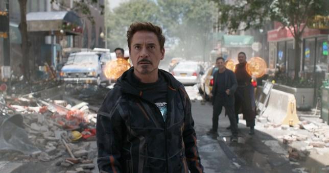 Marvel Studios' AVENGERS: INFINITY WAR..Tony Stark/Iron Man (Robert Downey Jr.) w/ Doctor Strange (Benedict Cumberbatch), Bruce Banner (Mark Ruffalo) and Wong (Benedict Wong) in the background L to R. ..Photo: Film Frame..??Marvel Studios 2018