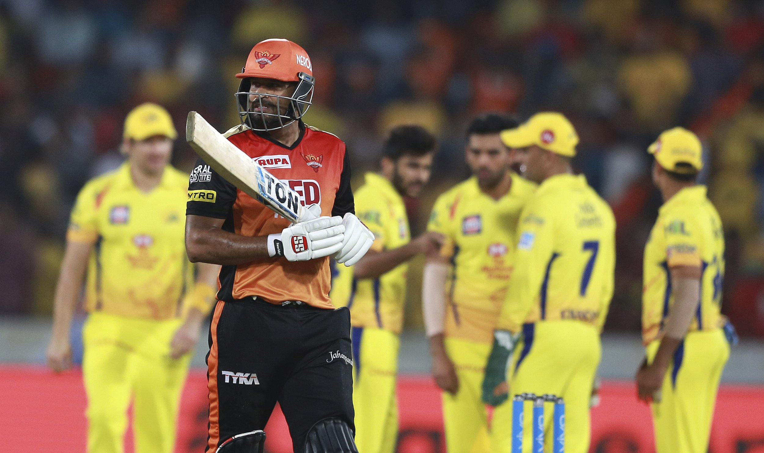 Sunrisers Hyderabad player Yusuf Pathan leaves after being dismissed by Shardul Thakur during VIVO IPL cricket T20 match against Chennai Super Kings in Hyderabad, India, Sunday, April 22, 2018. (AP Photo/Mahesh Kumar A.)