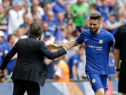 Olivier Giroud celebrates stunning FA Cup semi-final goal with huge Antonio Conte high five
