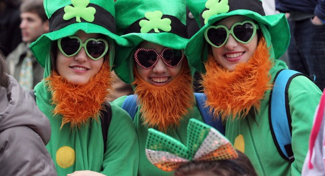 Spectators dressed as leprechauns attend St Patrick's Day parade in Dublin