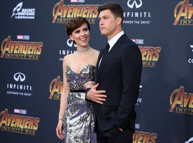 Mandatory Credit: Photo by Matt Baron/REX/Shutterstock (9640561fj) Scarlett Johansson and Colin Jost 'Avengers: Infinity War' film premiere, Arrivals, Los Angeles, USA - 23 Apr 2018
