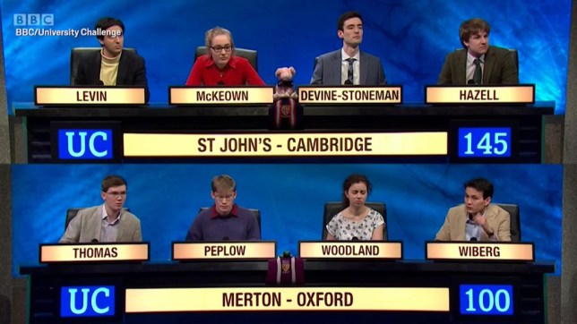 Contestants on the final of University Challenge 2018
