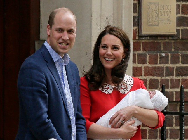 FILE - In this Monday, April 23, 2018 file photo, Britain's Prince William and Kate, Duchess of Cambridge smile as they hold their newborn baby son as they leave the Lindo wing at St Mary's Hospital in London. Britain's royal palace said Friday April 27, 2018, the infant son of the Duke and Duchess of Cambridge has been named Louis Arthur Charles. (AP Photo/Tim Ireland, File)