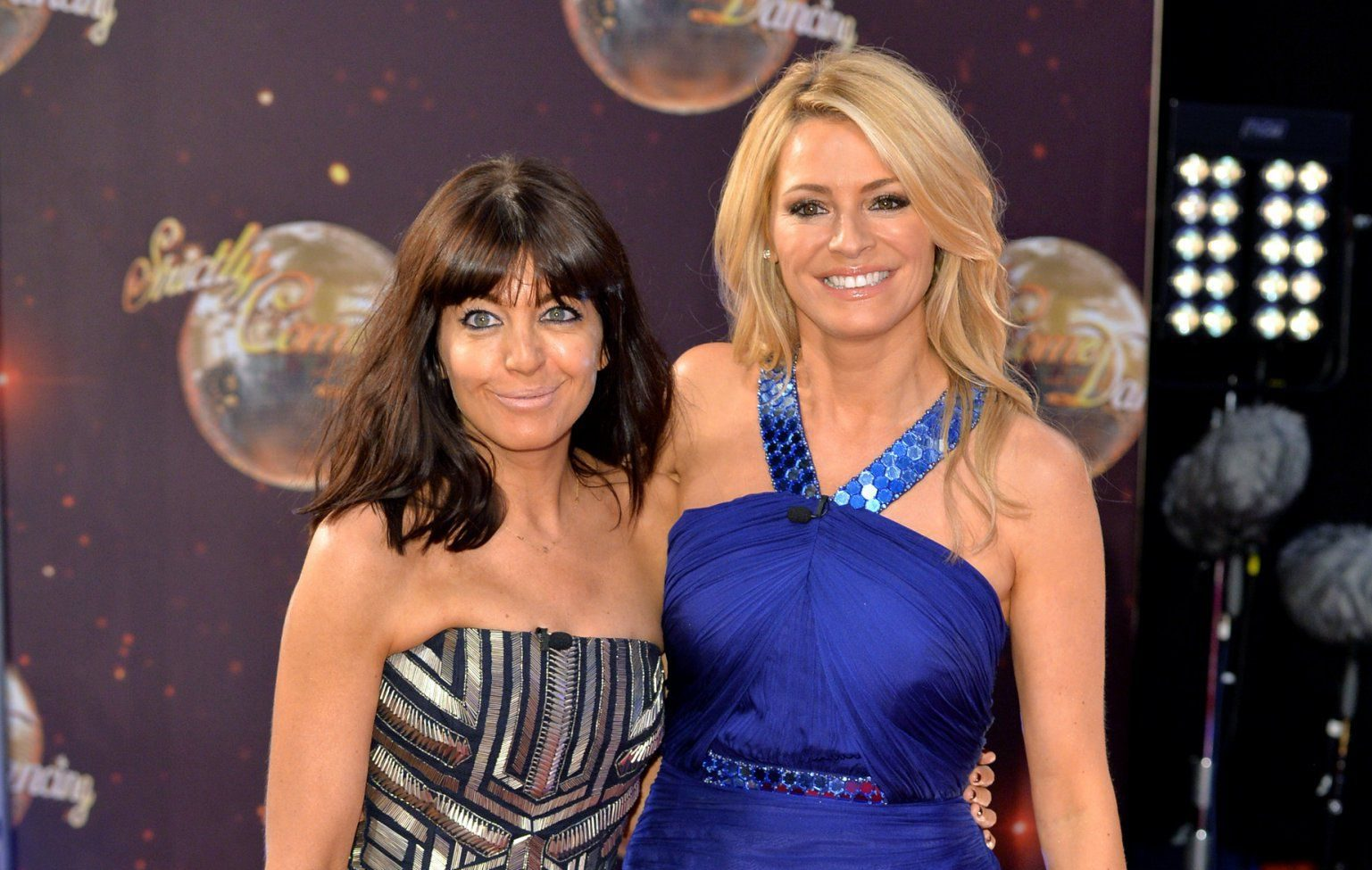 "BOREHAMWOOD, ENGLAND - SEPTEMBER 01: Claudia Winkleman and Tess Daly attend the red carpet launch of ""Strictly Come Dancing 2015"" at Elstree Studios on September 1, 2015 in Borehamwood, England. (Photo by Anthony Harvey/Getty Images)"