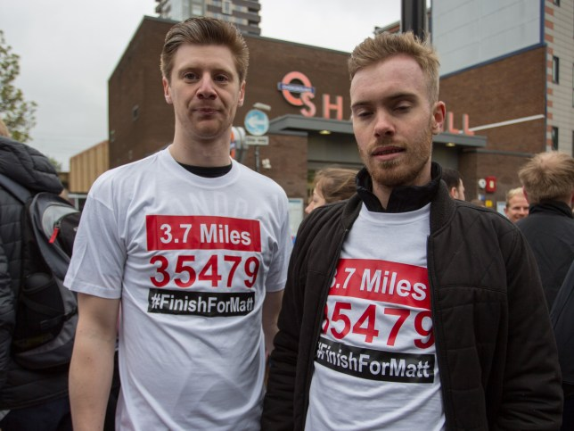 MasterChef contestants Jamie Park and Tom Peters, along with many others supporters, run from Shadwell to ???finish??? the final 3.7 miles of the London marathon from where Matt Campbell collapsed and died at the 22.5 mile mark. Featuring: Jamie Park, left Tom Peters Where: London, England, United Kingdom When: 29 Apr 2018 Credit: Wheatley/WENN
