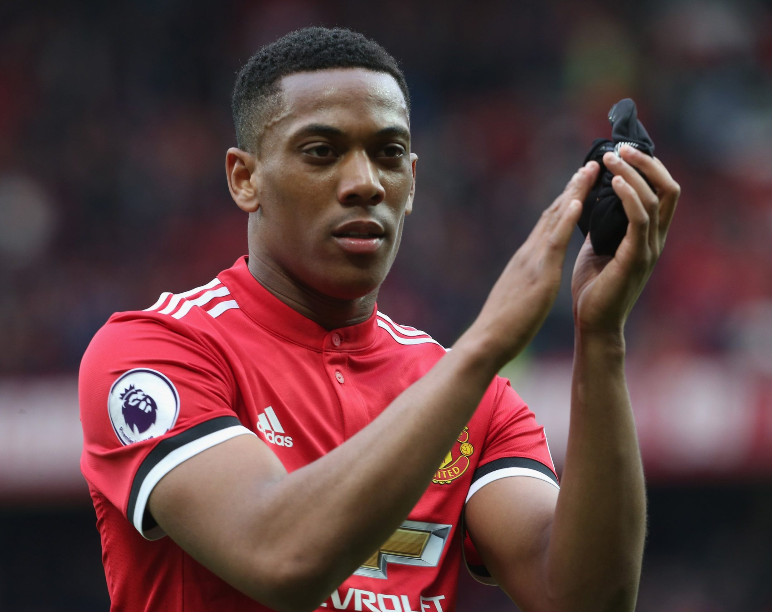 MANCHESTER, ENGLAND - APRIL 29: Anthony Martial of Manchester United walks off after the Premier League match between Manchester United and Arsenal at Old Trafford on April 29, 2018 in Manchester, England. (Photo by Tom Purslow/Man Utd via Getty Images)
