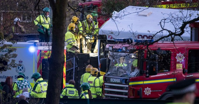 Bus crash scene at the exit to the Clyde Tunnel on the North side of Glasgow Copyright ? Wattie Cheung??29/4/18First Use Only ,Editorial Use Only, All reproduction fees payable,No Syndication no Archiving? WATTIE CHEUNG tel 07774 885266email.... wattiecheung@mac.com