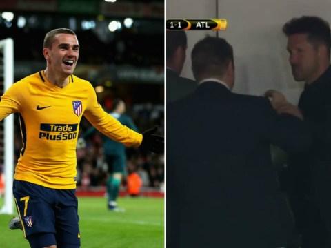Diego Simeone celebrates wildly in Arsenal box as Antoine Griezmann grabs away goal