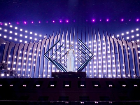 SuRie serves up a storm on the Eurovision stage for the UK as she rehearses in Lisbon