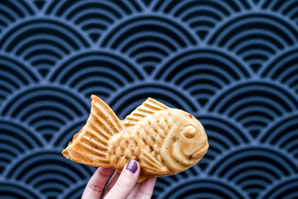 Japanese fish-shaped cake with filling taiyaki