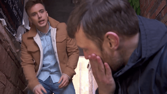 Harry punches Billy in Hollyoaks