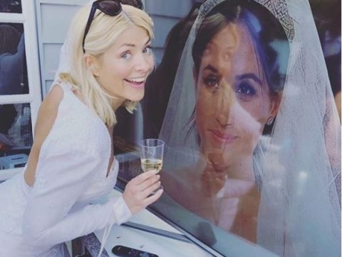 Vicious trolls accuse Holly Willoughby of 'stealing Meghan Markle's limelight' as she watches ceremony in wedding dress