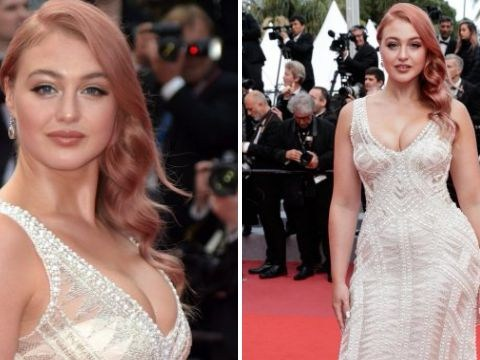 Iskra Lawrence is actual Hollywood siren as she sports new rose gold hair on Cannes red carpet