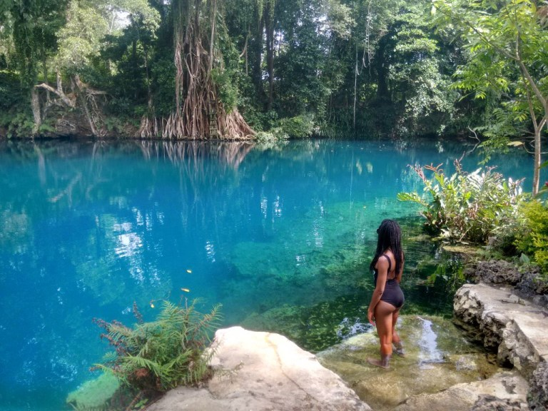 Picture of Nola standing next to the Matevulu Blue Hole