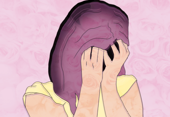 Sombre illustration of a woman holding her hands to cover her face, on a pink background.