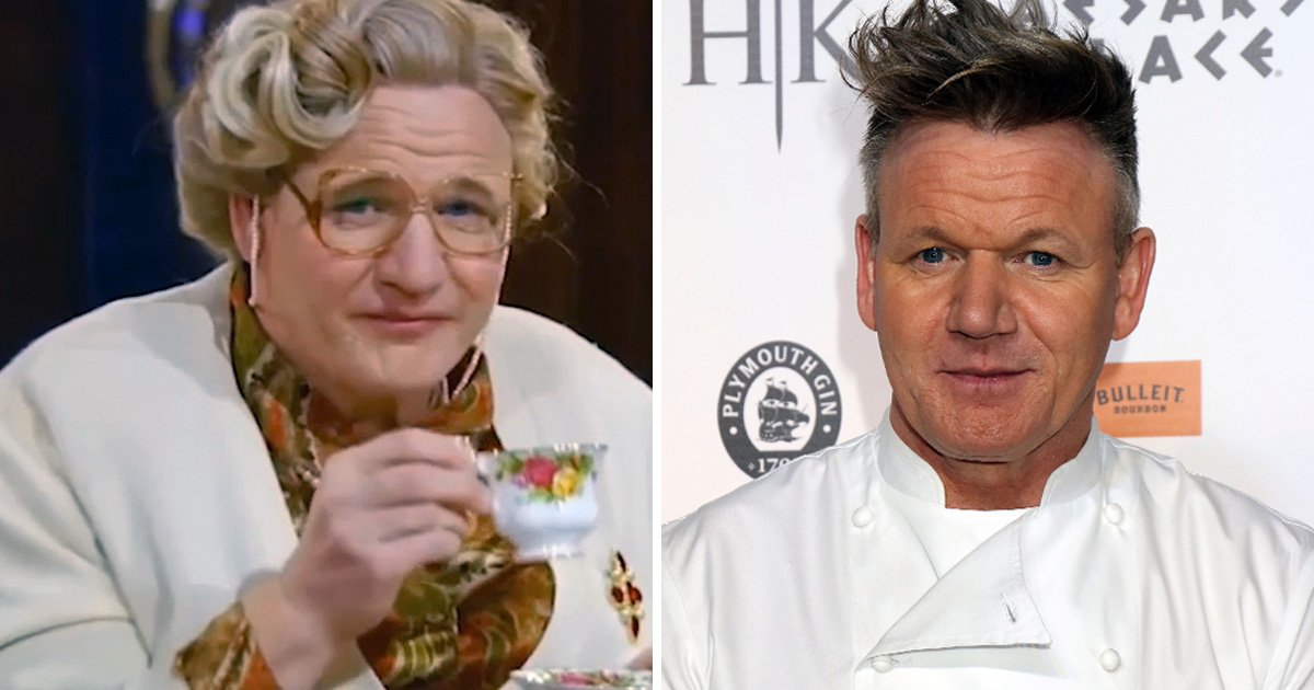Is that you Gordon Ramsay? TV chef ditches gruff exterior as he dresses in full Mrs. Doubtfire costume