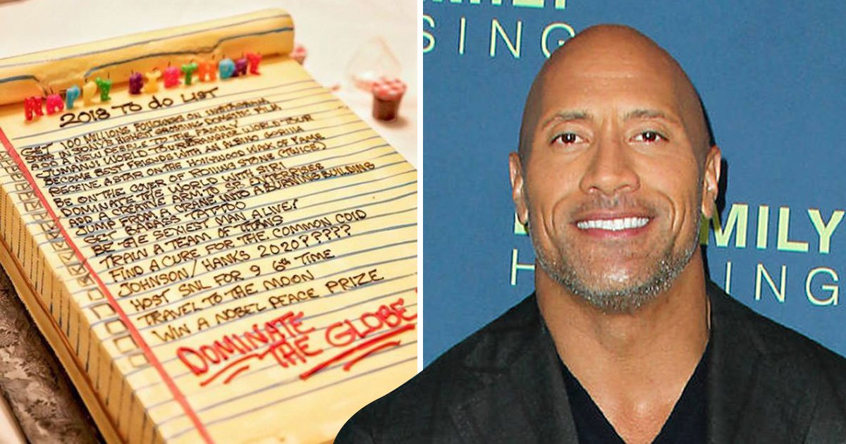 The Rock's bucket list birthday cake reveals he plans to 'dominate the globe'