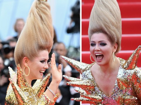 Elena Lenina defies gravity with most bizarre look of Cannes yet as she hams it up in spiky, gold foil dress