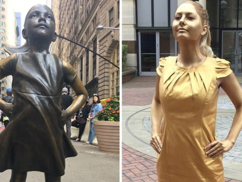 Woman paints herself in gold to land advertising internship