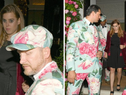 Princess Beatrice looks surprised among floral-printed bouncers