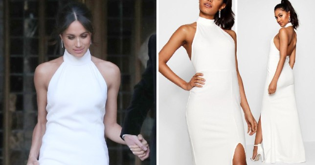 7357e2f5be9b Boohoo is selling Meghan Markle's wedding reception gown copy for ...