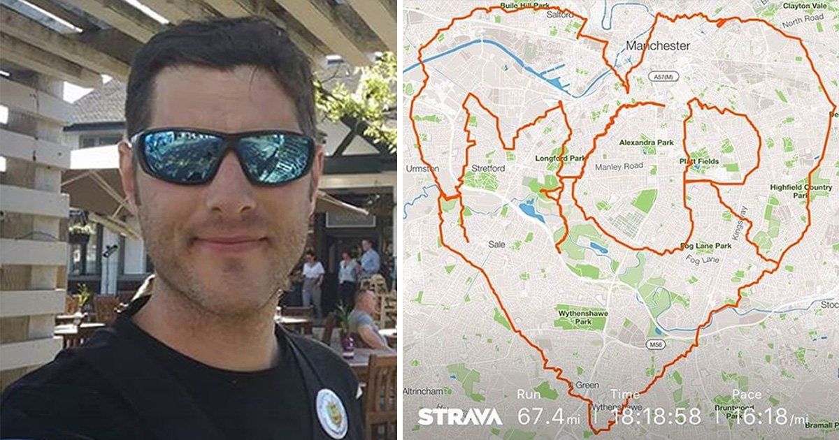 Man runs 67-mile heart-shaped marathon around Manchester to pay tribute to 22 bombing victims