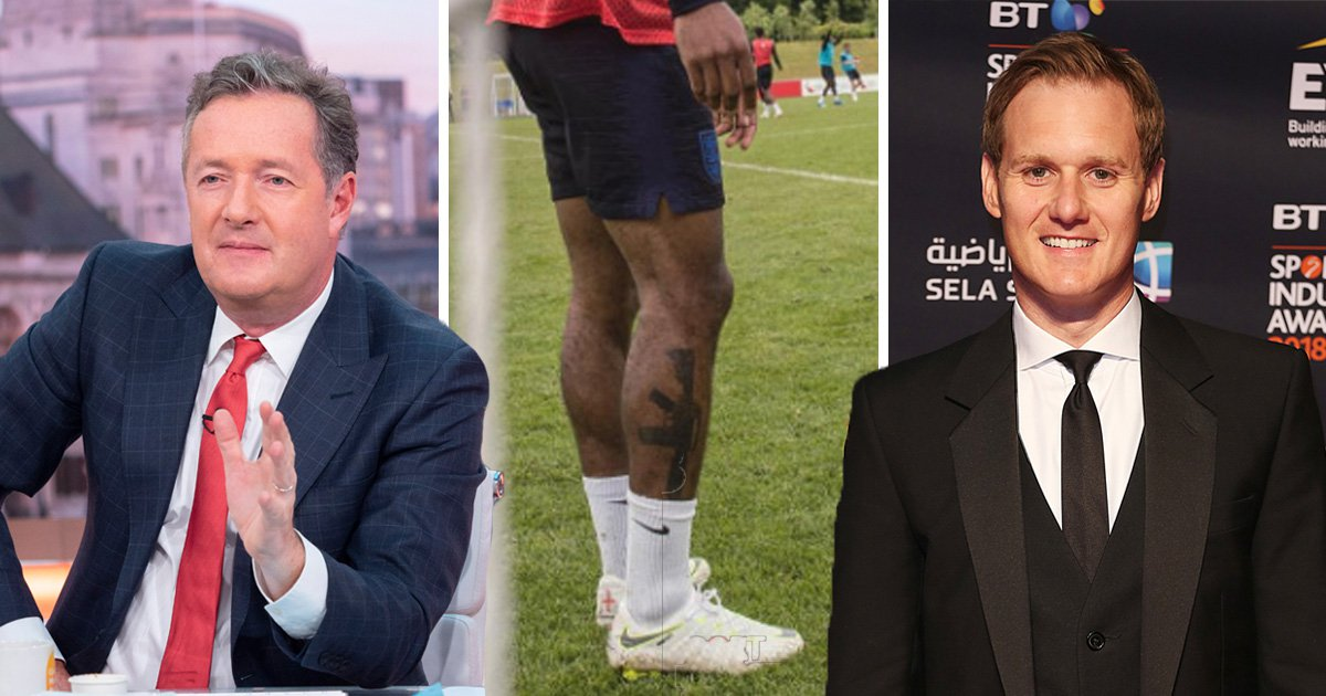 Pier Morgan and Dan Walker found another reason to clash - this time it was over Raheem Sterling's leg (Picture: Rex/Shutterstock, Raheem Sterling/Instagram)