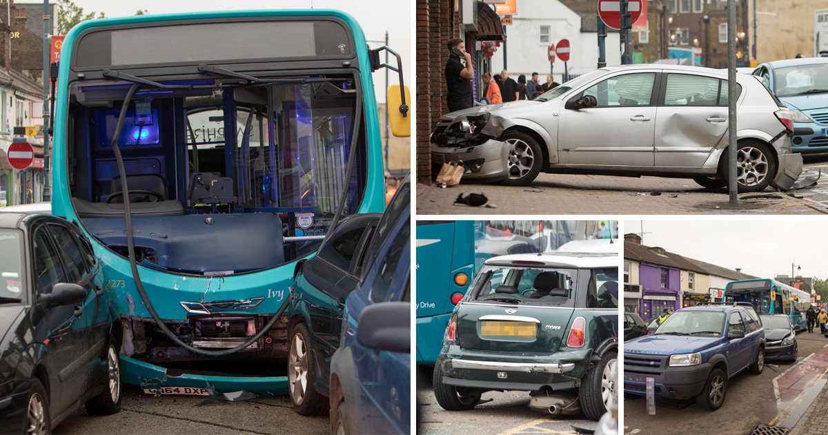 Bus leaves trail of destruction after hitting 25 vehicles and injuring 14 people