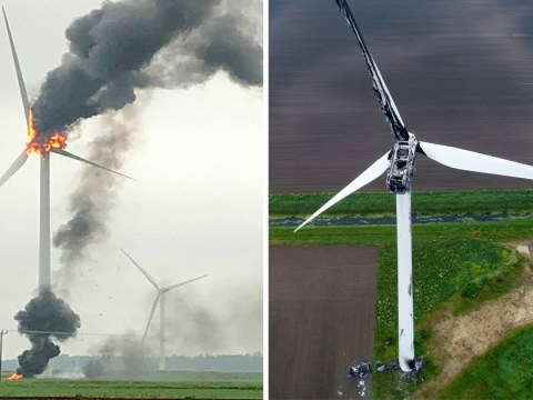 Wind turbine catches fire after being struck by lightning