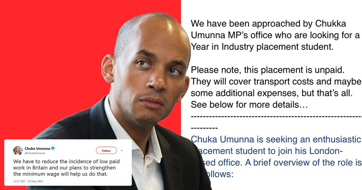 Chuka Ummuna is advertising for unpaid worker despite hitting out at low-pay work