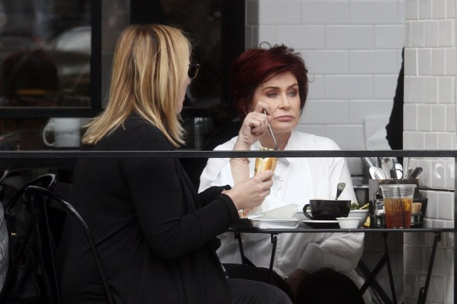 Studio City, CA - Sharon Osbourne enjoys an al fresco lunch with a friend at Joan's On Third in Studio City. Pictured: Sharon Osbourne BACKGRID USA 2 MAY 2018 BYLINE MUST READ: Phamous / BACKGRID USA: +1 310 798 9111 / usasales@backgrid.com UK: +44 208 344 2007 / uksales@backgrid.com *UK Clients - Pictures Containing Children Please Pixelate Face Prior To Publication*