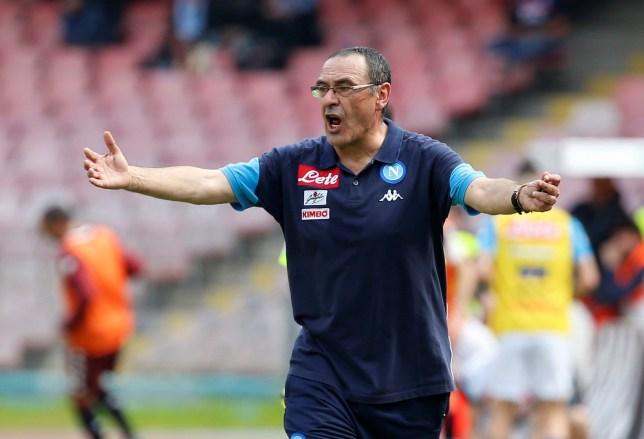 Soccer Football - Serie A - Napoli vs Torino - Stadio San Paolo, Naples, Italy - May 6, 2018 Napoli coach Maurizio Sarri reacts REUTERS/Ciro De Luca