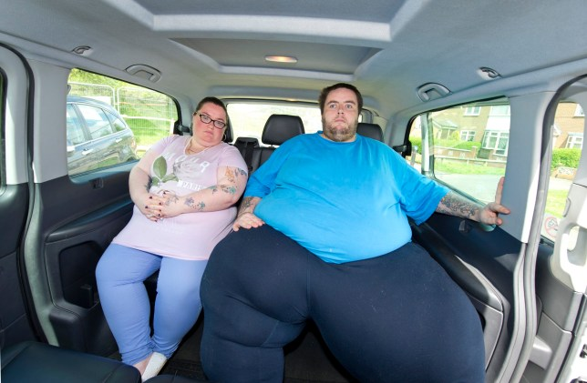 """36 stone Marcus Edwards and his partner Taylor Faulkner who were banned by Birmingham taxi firm Centrex Cars after they alleged that Marcus broke the suspension on a Volkswagen Touran due to his weight, have now begun to use another firm, Star Cars, with no problems. Material must be credited """"The Sun/News Licensing"""" unless otherwise agreed. 100% surcharge if not credited. Online rights need to be cleared separately. Strictly one time use only subject to agreement with News Licensing"""