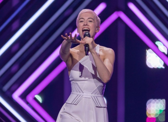 Mandatory Credit: Photo by Rolf Klatt/REX/Shutterstock (9668881bu) SuRie of Greatbritain is performing her song 'Storm' during a dress rehearsal for the grand final of the Eurovision Song Contest Eurovision Song Contest Grand Final dress rehearsal, Lisbon, Portugal - 11 May 2018