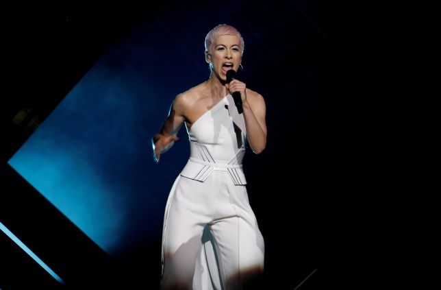 """United Kingdom's SuRie performs """"Storm"""" during the Grand Final of Eurovision Song Contest 2018 at the Altice Arena hall in Lisbon, Portugal, May 12, 2018. REUTERS/Pedro Nunes"""