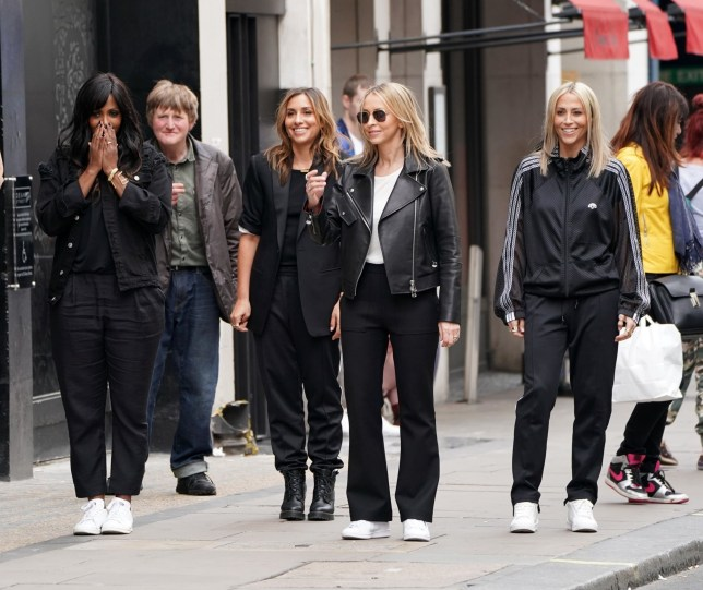 BGUK_1232223 - LONDON, UNITED KINGDOM - *EXCLUSIVE* - The All Saints girls are back! Nicole Appleton, Natalie Appleton, Melanie Blatt and Shaznay Lewis are seen here filming a new music video in Soho, London. Pictured: Nicole Appleton, Natalie Appleton, Melanie Blatt, Shaznay Lewis BACKGRID UK 11 MAY 2018 BYLINE MUST READ: KEVIN ANDERSON / BACKGRID UK: +44 208 344 2007 / uksales@backgrid.com USA: +1 310 798 9111 / usasales@backgrid.com *UK Clients - Pictures Containing Children Please Pixelate Face Prior To Publication*