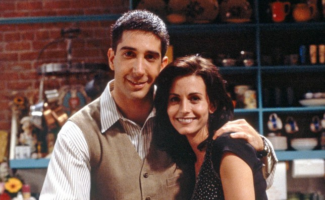 "FRIENDS -- ""The One With the Sonogram at the End"" Episode 2 -- Pictured: (clockwise from top) David Schwimmer as Ross Geller, Courteney Cox as Monica Geller, Christina Pickles as Judy Geller, Elliott Gould as Jack Geller (Photo by Alice S. Hall/NBC/NBCU Photo Bank via Getty Images)"