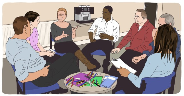 What happens at a mental health support group
