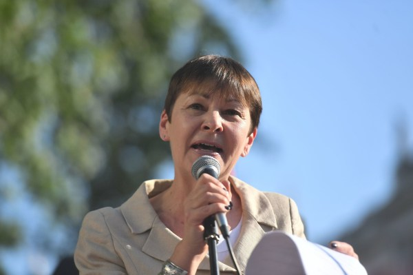 "Green party co-leader Caroline Lucas addresses a rally on Whitehall in central London after more than 60 Palestinians were killed and about 2,000 injured by Israeli forces during protests on Monday. PRESS ASSOCIATION Photo. Picture date: Tuesday May 15, 2018. Prime Minister Theresa May has described the loss of life at Palestinian protests as ""tragic and extremely concerning"" and urged Israel to show restraint. See PA story POLITICS Israel. Photo credit should read: Victoria Jones/PA Wire"