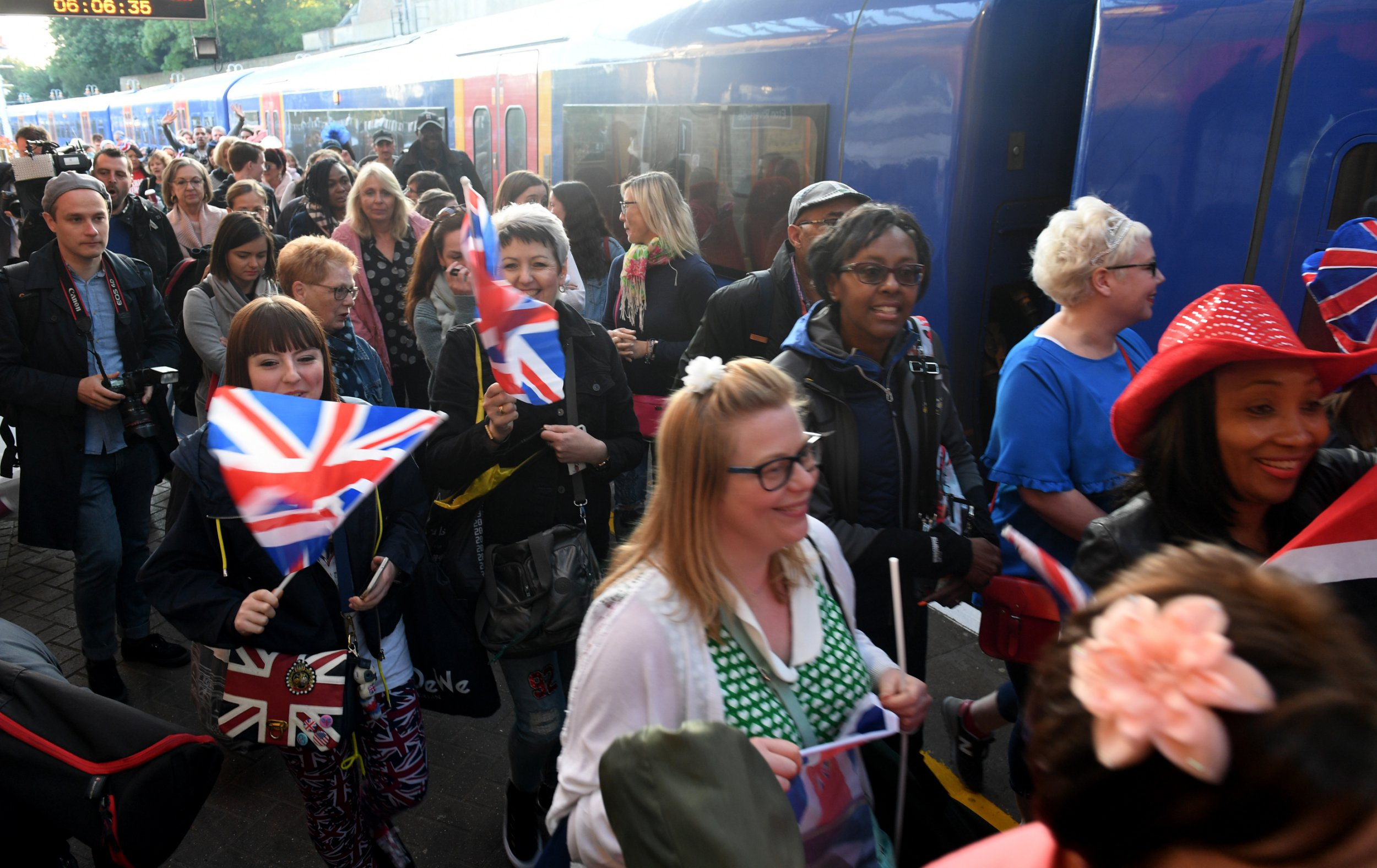 Thousands of people are on the train to Windsor for the royal wedding
