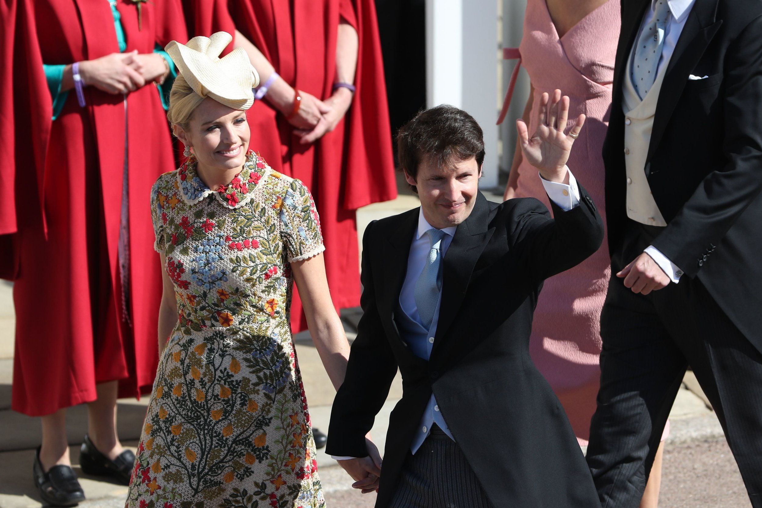 Sofia Wellesley and James Blunt arrive at St George's Chapel at Windsor Castle for the wedding of Megan Markle and Prince Harry. PRESS ASSOCIATION Photo. Picture date: Saturday May 19, 2018. See PA story ROYAL Wedding. Photo credit should read: Andrew Milligan/PA Wire