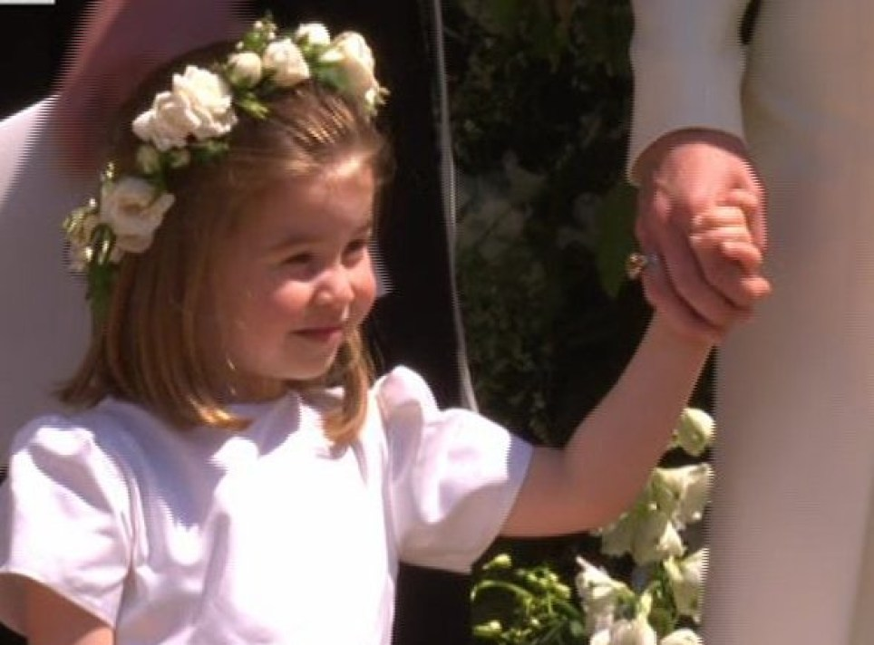 4bc55f557a9 Prince George and Princess Charlotte look adorable as they arrive for royal  wedding