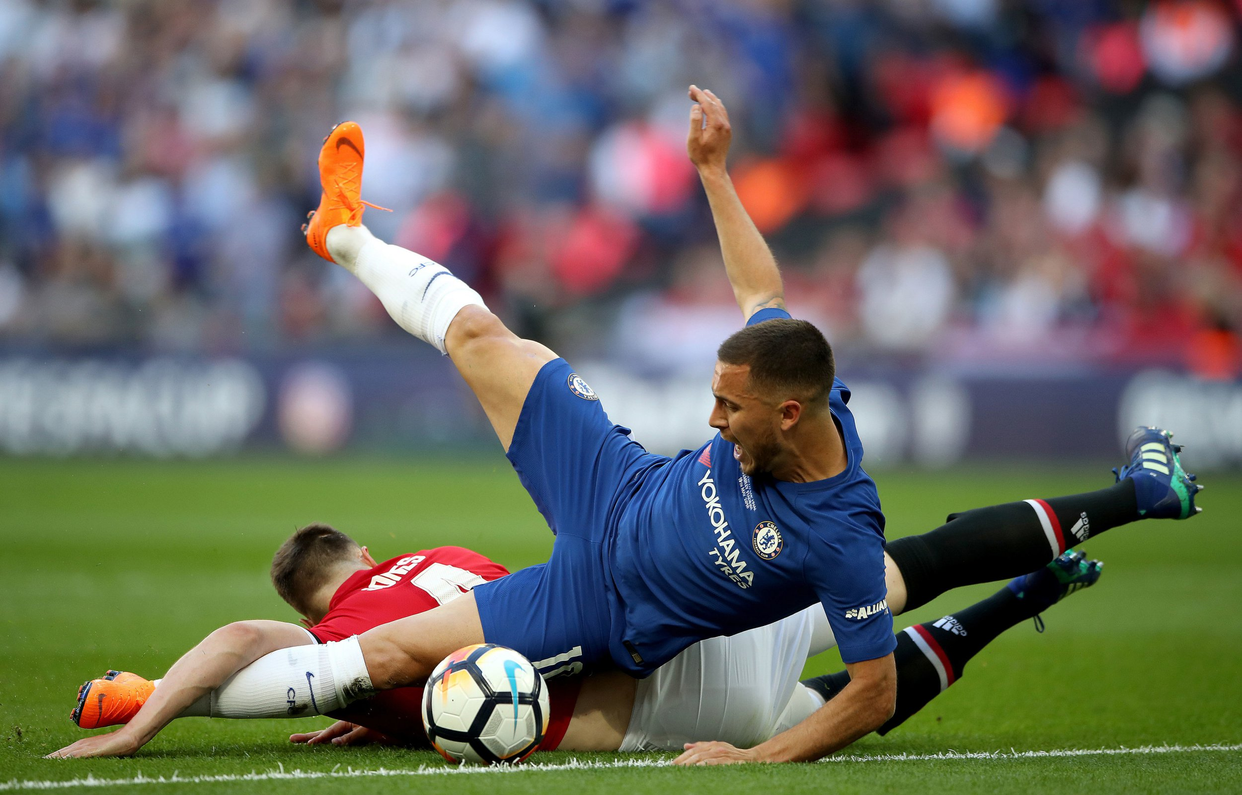 The reason Phil Jones was not sent off for challenge on Eden Hazard in FA Cup final