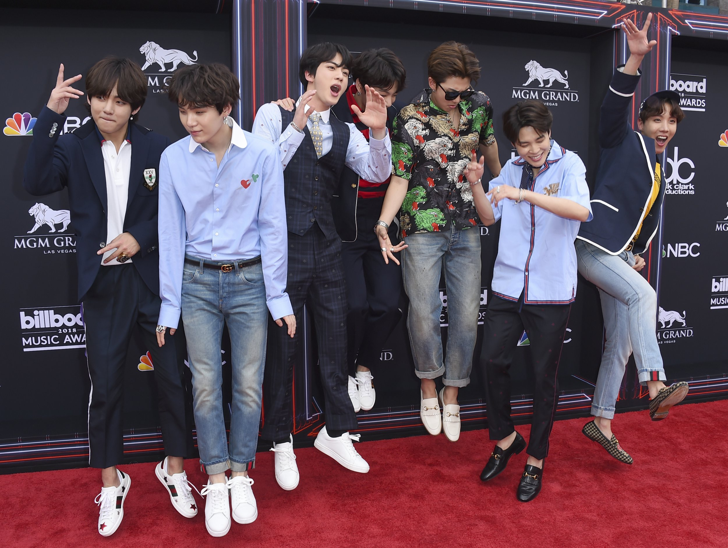 BTS arrives at the Billboard Music Awards at the MGM Grand Garden Arena on Sunday, May 20, 2018, in Las Vegas. (Photo by Jordan Strauss/Invision/AP)
